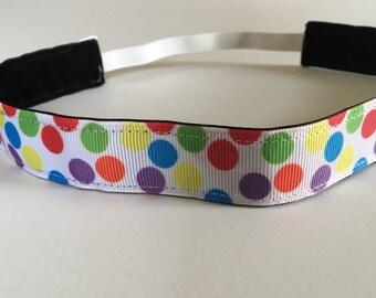 Multi Colored Polka Dot NON SLIP/No slip Headband