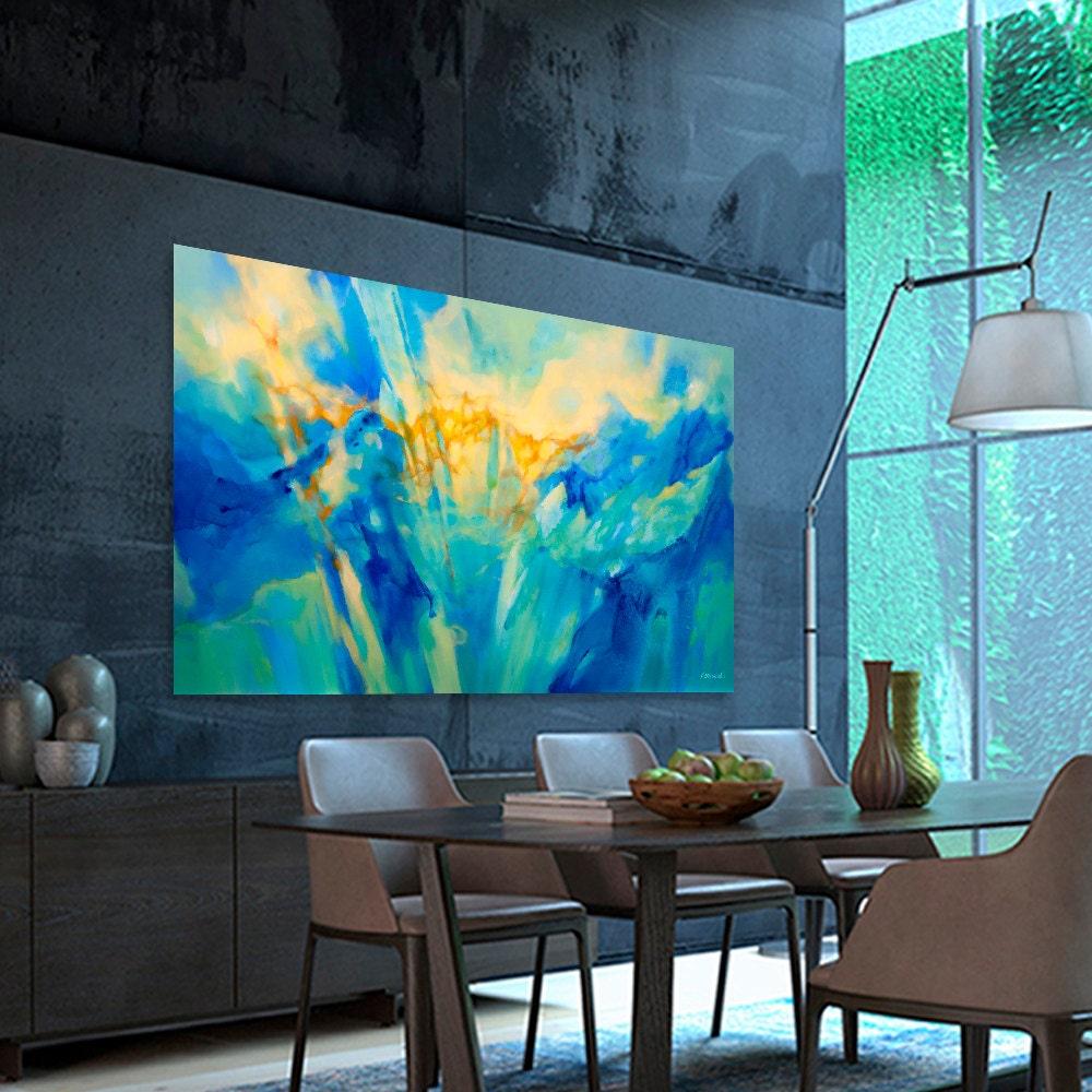 Turquesa azul verde amarillo la pintura abstracta moderna for Pintura azul turquesa