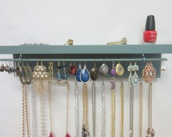 Necklace Storage - Earring Holder - Wall Mount Jewelry Organizer - Jewelry Holder - Jewelry Display Rack - Earring Organizer-Jewelry Storage