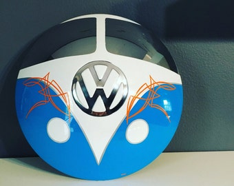 Vintage VW Hubcap VW Bus Art with Pinstriping VW Split Window Volkswagen