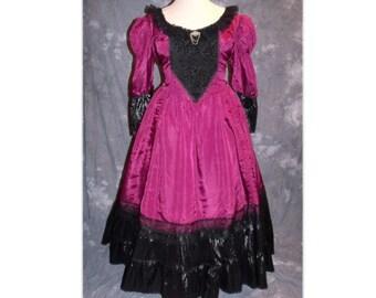 Victorian Gown  / Steampunk / Southern Belle / Renaissance / Saloon / Corset Back Costume-XL-XXL (A98)