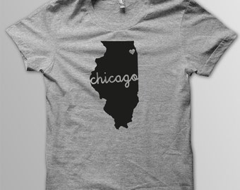 Custom ILLINOIS Hometown American Apparel Tri blend Tshirt