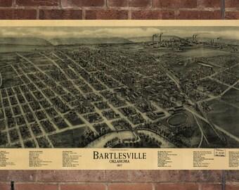 Vintage Bartlesville Print, Aerial Bartlesville Photo, Vintage Bartlesville OK Pic, Old Bartlesville Photo, Bartlesville Oklahoma Poster