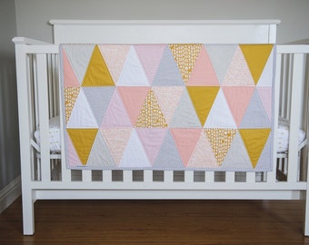 "Triangle Baby Quilt. Modern Quilted Baby Blanket Heirloom Quilt for Baby, Toddler.  ""The Ellie"" Coral & Mustard. Triangle Quilt, Baby Girl"