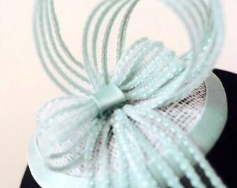 Bespoke Pale Turquoise Velvet, Satin & Sinamay Fascinator