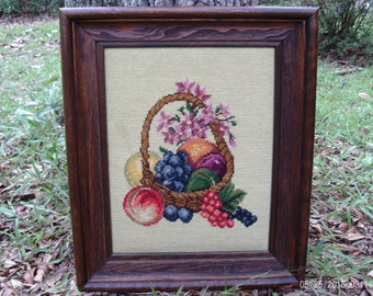 Vintage Framed Needlepoint  Wall Art,Needlepoint Fruit Basket,Wood Framed Needlepoint,Fruit Basket,Wall Hanging,Still Life Needlepoint,Decor