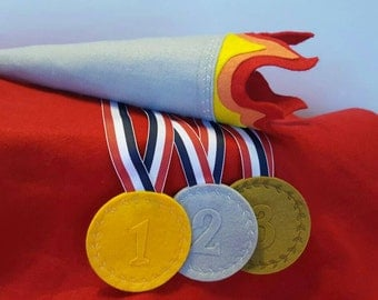 Felt Olympics Play Set - Olympic Medals - Olympic Torch