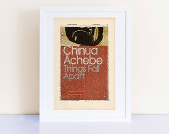 Things Fall Apart by Chinua Achebe Print on an antique page, book cover art