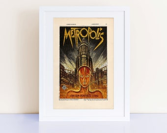 Metropolis Poster on a vintage encyclopedia page (unframed) - home decor gift, cinema classic, movie poster print