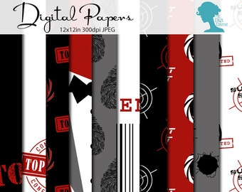 Secret Agent/Spy Digital Scrapbooking Paper Pack, Buy 2 Get 1 FREE. Instant Download