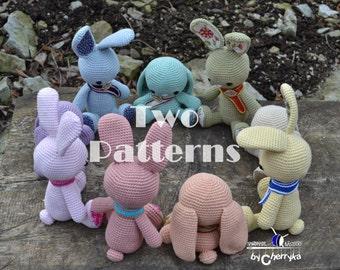2 CROCHET RABBIT PATTERN - Easter Duo Amigurumi Pattern, Easter Bunny Duo Pattern,  Instant download Pdf