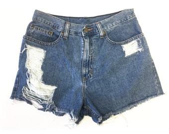 Vintage High Waist Denim Shorts / LL Bean Denim Shorts / Size 6 / Size 28