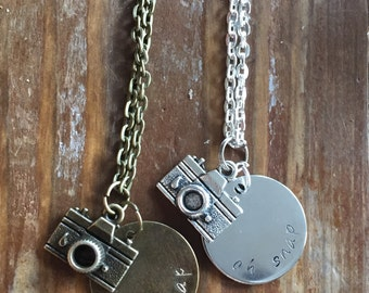 """Oh Snap camera/photography necklace 28"""" chain"""