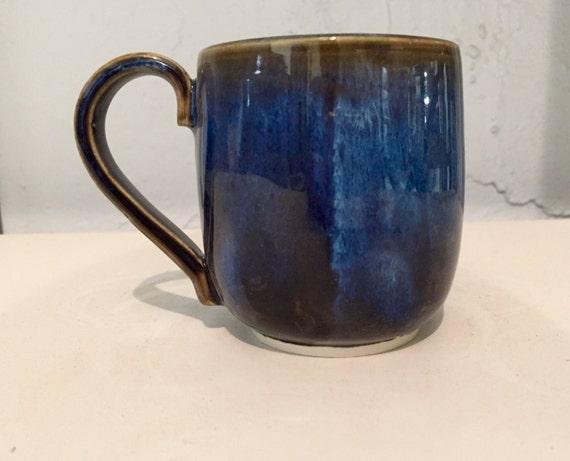 Handmade ceramics- coffee mug - blue - half price!