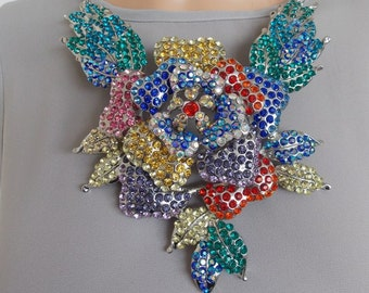 Over-Sized Crystal Floral Statement Necklace