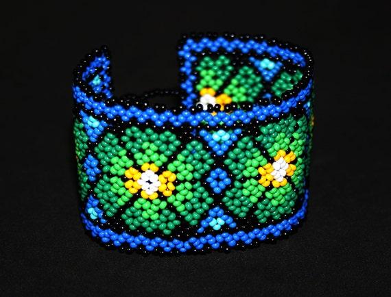 Huichol Peyote Bracelet, Native American Beaded Bracelet, Seed Bead Bracelet, Beaded Cuff Bracelet, Tribal Bracelet, Hippie Bracelet