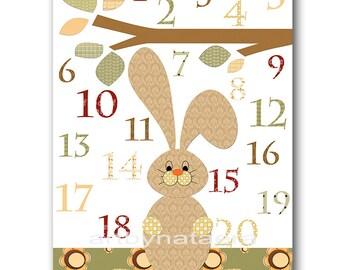 Green Cream Brown Digital Numbers Nursery Numbers Hare Wall Art Childrens Art Baby Boy Nursery Print Playroom Art INSTANT DOWNLOAD 8X10