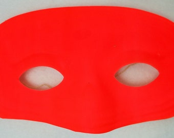 Vintage Neon Orange Domino Mask Halloween Super Hero Costume  Gala