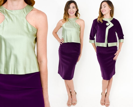 60s Vogue Original Pierre Cardin Pattern Suit | 3 Piece Purple Velvet & Silk Suit | Mod Jackie O Suit | Small