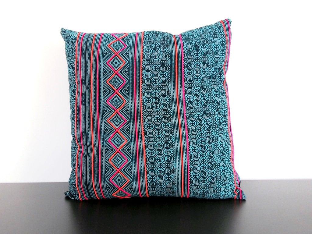 Hmong Vintage Batik Cushion Cover Tribal Throw Pillow Case