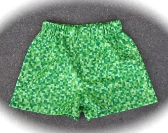 CUSTOM BOY'S BOXERS, Made to Order, Bitmap, Looks Like Minecraft, Video Games, Choose Size and Color
