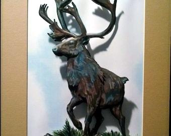 3-D Animal Paper-Cut:  Elk