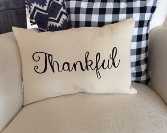 Thankful Saying Pillow, Thanksgiving Quote Pillow, Autumn Word Pillow, Pillow with Saying, Fall Decorative Pillow,  Autumn Decor Cushion