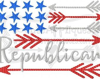 Embroidery design 5x7 6x10 Republican flag embroidery, republican embroidery, american, vote, Independence Day, socuteappliques, patriotic