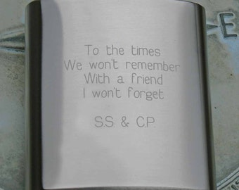personalized flask, metal hip flask, engraved flask, pocket flask, stainless steel flask, men's flask, groomsman  gift