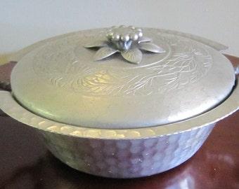 Vintage, Hand Forged, Everlast Metal, Aluminum Covered Casserole Serving Dish