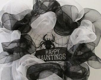 Black & White Deco Mesh Halloween Wreath