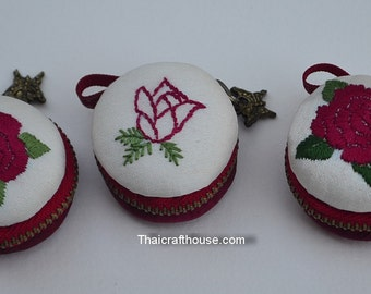 Macaroon Jewelry purse,Hand Embroidery Rose on Thai Silk ,4 x 2.5 cm.