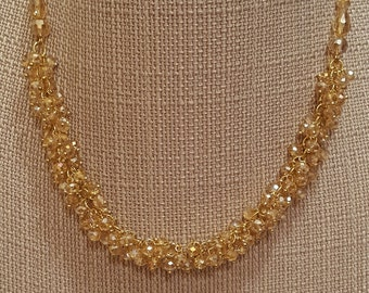 Golden Crystal Necklace/Earring Set, Free shipping
