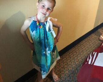 Blue Dress, Hawaiian Print Dress, Girls Pillowcase Dress, Girls Sundress, Matching Doll Dress