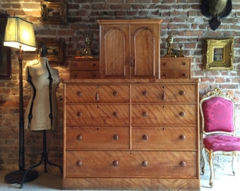 Very Large Antique Chest of Drawers Dresser Satin Birch Victorian 19th Century