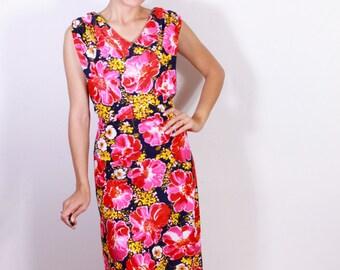 Melivine of Maiami 1970s Floral Maxi Dress XL/XXL