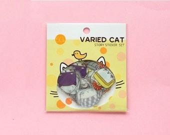 Kawaii Cat Flake Sticker Pack 50PCS-Cute Kittens Flake Sticker Set