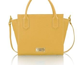 DANIELLA Yellow leather bag ,handmade,luxury,designerbag,fashion,handbag,premium,tote,leatherbag,bag