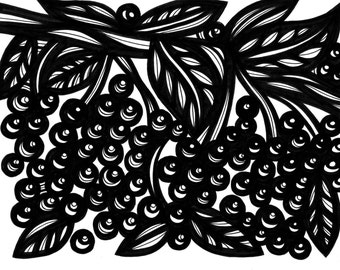Botanical Leaves Berries Original Drawing