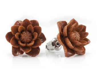 "Hand Carved - ""Water Lily Sabo"" - Wood Stud Earring - Urban Flowers"