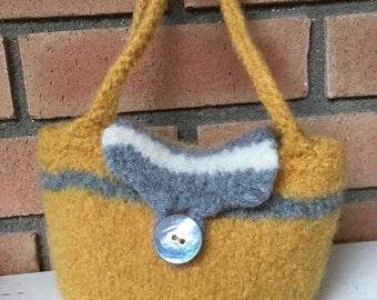 Little Golden Wool Felted Bag