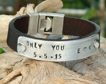 EXPRESS SHIPPING, Men's personalized jewelry, Personalized bracelet men, hand stamped bracelet, Mens jewelry, Gift For mom, Gift for him
