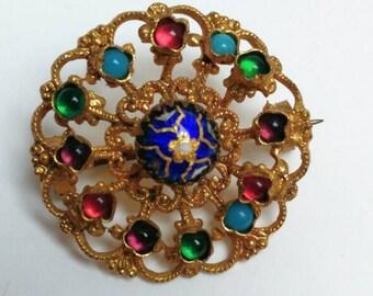 Vintage brass glass brooch