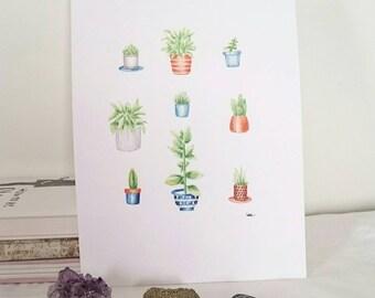 plant friends art print - a4