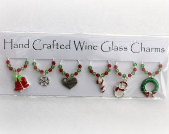 Christmas Wine Glass Charms Six Crystal Festive Wine Glass Charms Christmas Gift Christmas Decoration