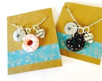 Sale, Best Friend Necklace, Donut Necklace, Best Friends Necklace Set, Little Girls Necklace, Best Friends Gift, Kids jewelry