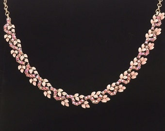 1960's pink ornate necklace.