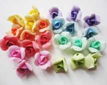 ROSE BEADS, cold porcelain rose, clay rose beads, flower beads, handmade flower beads, jewelry rose beads, handmade rose beads, jewelry bead