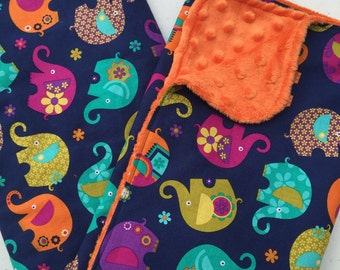 Girl Elephant Baby Blanket, Minky Blanket, Michael Miller Elephant Romp, Orange Minky Back