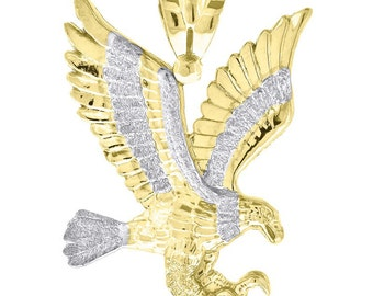 Eagle Two Tone 10k Gold Pendant - Eagle Pendant